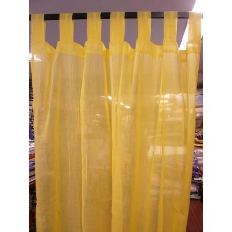 Cortina confeccionada amarilla con trabillas